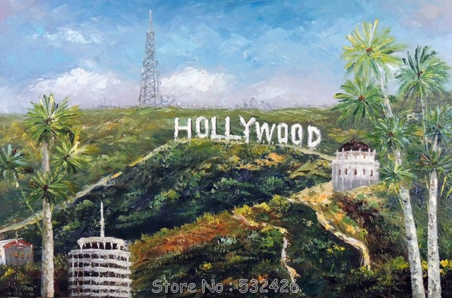 Hollywood Sign Hills LA California Palm Trees Handpainted Oil Painting On Canvas Wall Art Home Decoration