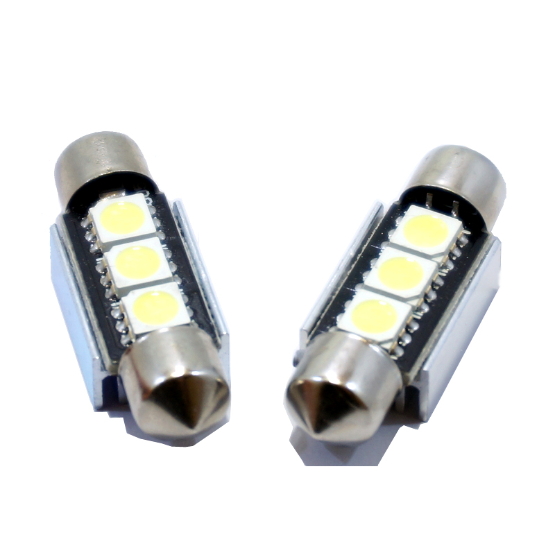 10pcs 36mm 39MM 41MM 3 SMD 5050 Pure White Dome Festoon CANBUS No Error Car 3 LED Light c5w led Lamp auto Bulb 12V led light 1pcs 31mm 36mm 39mm 41mm white 3528 1210 car light 8smd 8 led c5w festoon dome lamp bulb dc 12v festoon dome car light bulb