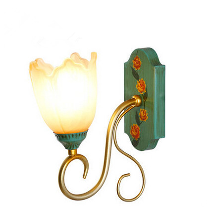 Europe Flowers LED Wall Lamp Bathroom Light Iron Hand-painted Mirror Lamp For Indoor Home Lighting Bedside Sconces Luminaire