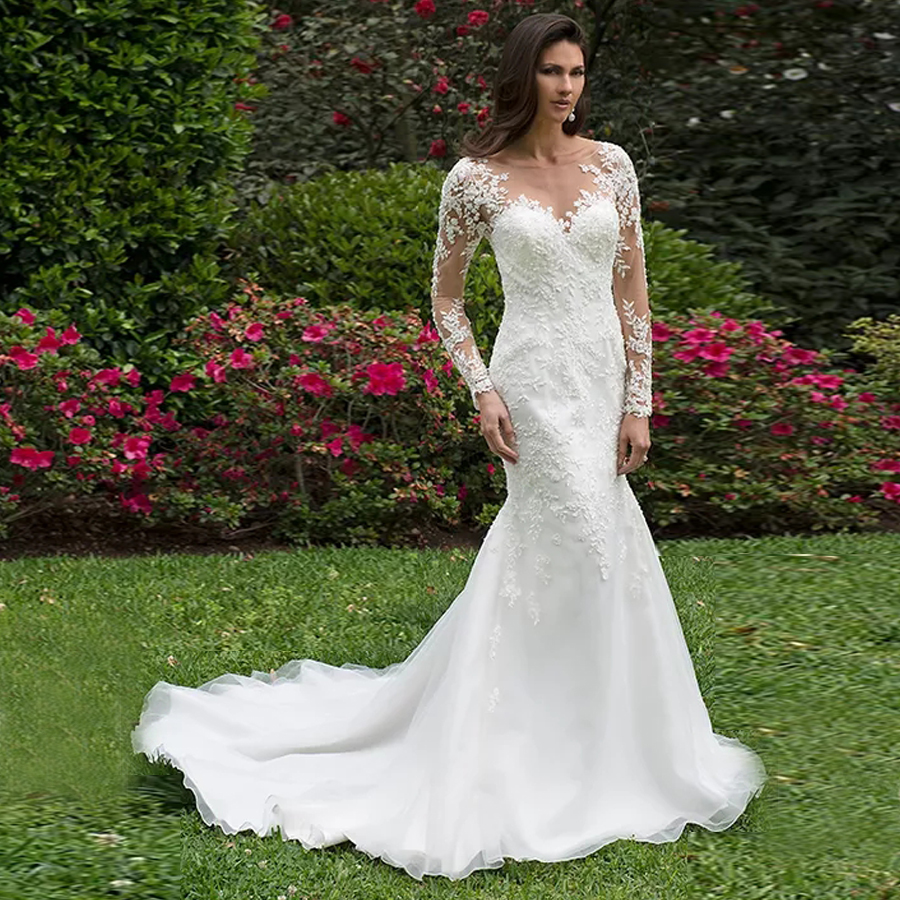 Lace Illusion Cascades Over Satin On This Mermaid Wedding Gown Court Length Long Sleeves Sheer Back