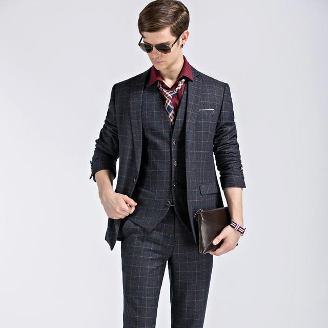 3 Piece suits set commercial male fashion plaid casual suit ...