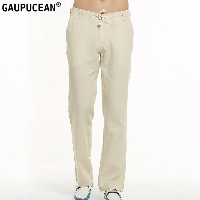 0266f56dc9670 Véritable Gaupucean Homme Pantalon Coton Lin Droite Lâche Occasionnel Blanc  Kaki Noir Pleine Longueur D'
