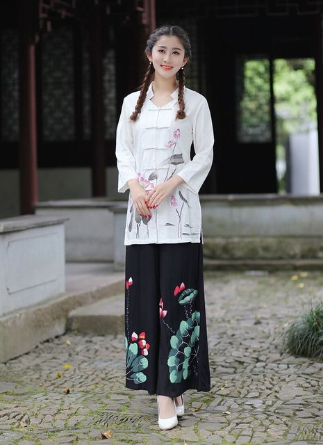 New Arrival White Black Chinese Women S Shirt Pants Sets Cotton