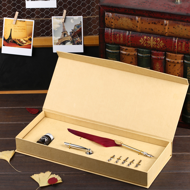 Small red  black blue white feather Italian Feather QUILL Pen and Ink Set with Nibs YM07