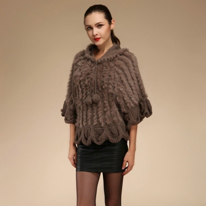 Rabbit Fur Sweater: GTC049 NEW STYLE WOMENS HALF SLEEVES ROUND COLLAR HOODED