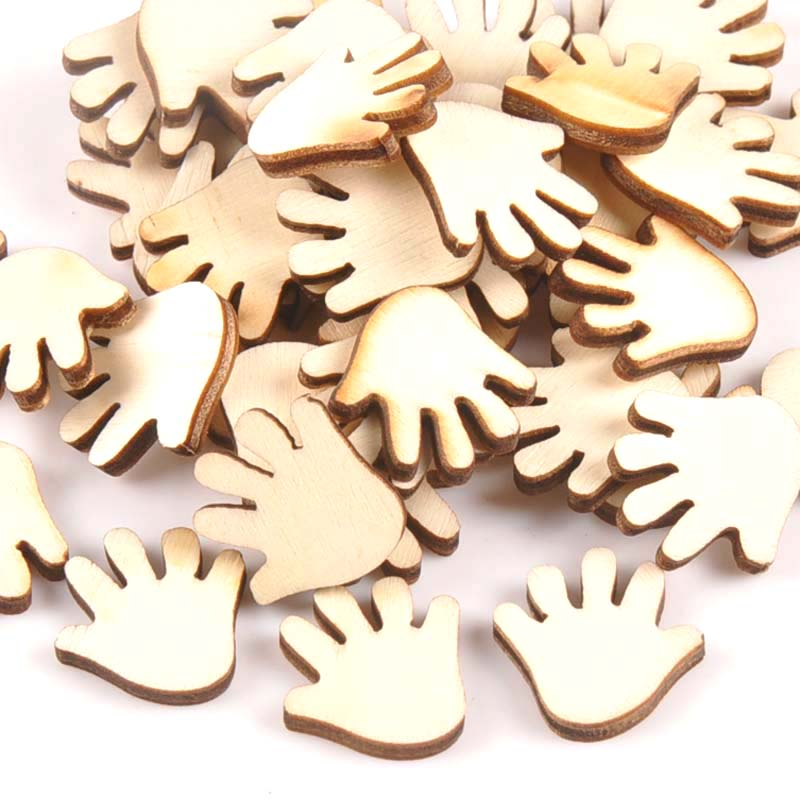 50pcs Unfinished Wooden Ornaments For Scrapbooking Hand Shape Wood Slices DIY Crafts Handmade Home Decoration Accessories M0994