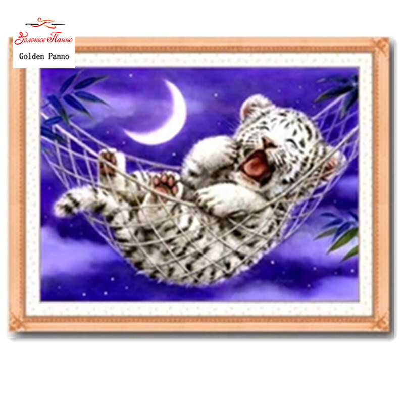 Golden Panno,Needlework,Embroidery,DIY Animal Painting,Cross Stitch,kits,11ct Little Tiger Home Cross-stitch,Sets For Embroidery