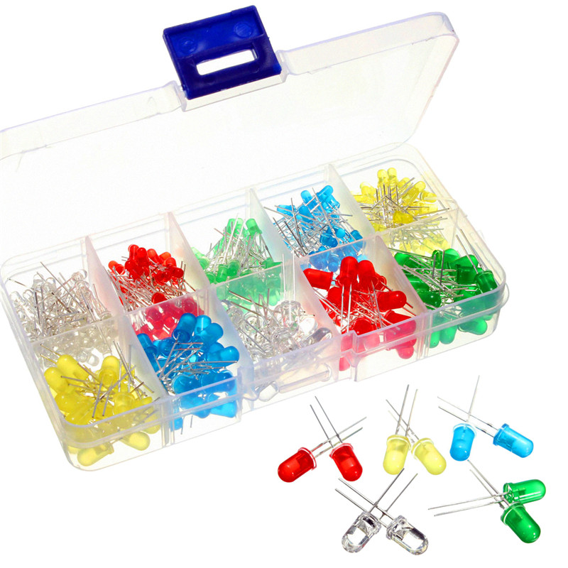 300Pcs/lot 3mm and 5mm LED Diode Kit White Yellow Red Green Blue LED Light Emitting Diodes Assorted Kit DIY LEDs Set Bulb Lamp 5mm led diodes red yellow multicolored 40 pcs