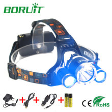 Boruit 5000lm 3 LED XML T6 Headlamp Blue Light Fishing Headlights 4 Modes Portable Rechargeable Head Lamp For Camping Hunting