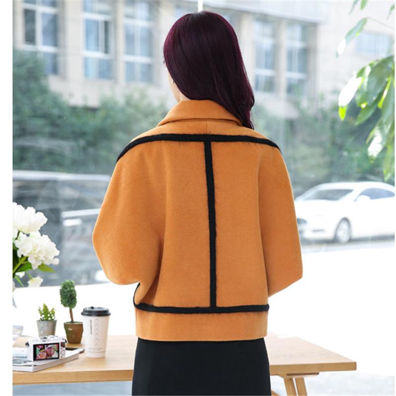 Spring Elegant Women Slim Coat Fur Color Short Sleeve High Quality Streetwear Red Yellow Coat 2018 14