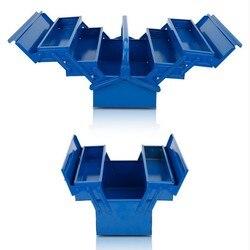 Caja de Herramientas de hierro portátil multi-función plegable caja de herramientas de metal de mantenimiento doméstico electricista Anti-caída Caja de Herramientas