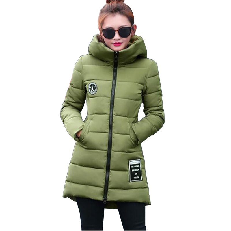 Parkas for Women Winter 2017 New Cotton Long Jacket Coat Fashion Plus Size Thick Hooded Padded Jackets  Solid color Loose Coat 2017 new winter jacket women long cotton padded hooded jackets parkas ladies plus size m 3xl winter casual coat