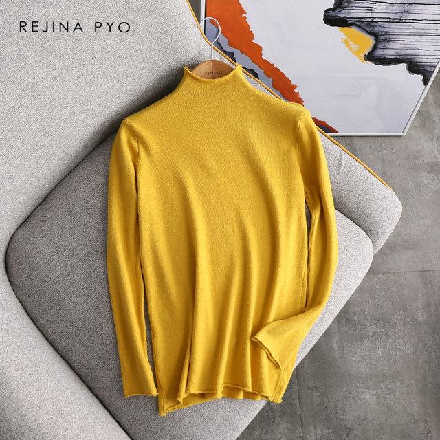 REJINAPYO Women Everyday Solid Turtleneck Thin Knitted Sweater Female Casual Comfortable Slim Underwear Ladies Elegant Pullovers