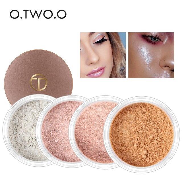 O dos O 4 colores resaltador maquillaje paleta contorno maquillaje polvo suelto brillo oro maquillaje paleta para regalo de las mujeres