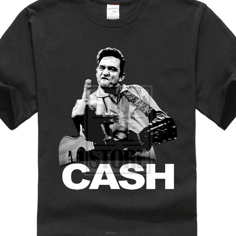 31cd24fdb Men'S Fashion Johnny Cash Middle Finger T Shirt Heavy Metal Rock Band  Merchendise Design T Shirt