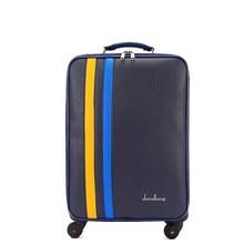 Новое поступление 24 дюймов винтажные искусственная кожа путешествия багажные сумки с большой емкостью для обувь для мужчин и женщин, синий багажа, fgf-0005-24