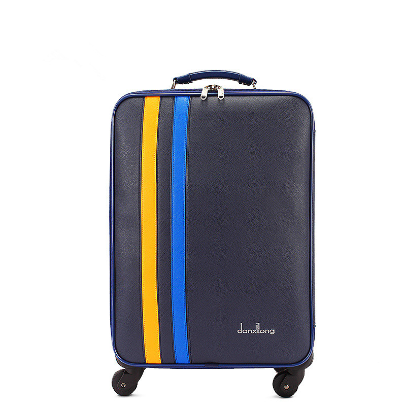 New arrival 24 inch vintage pu leather travel luggage bags with large capacity for men and women,blue luggage,FGF 0005 24