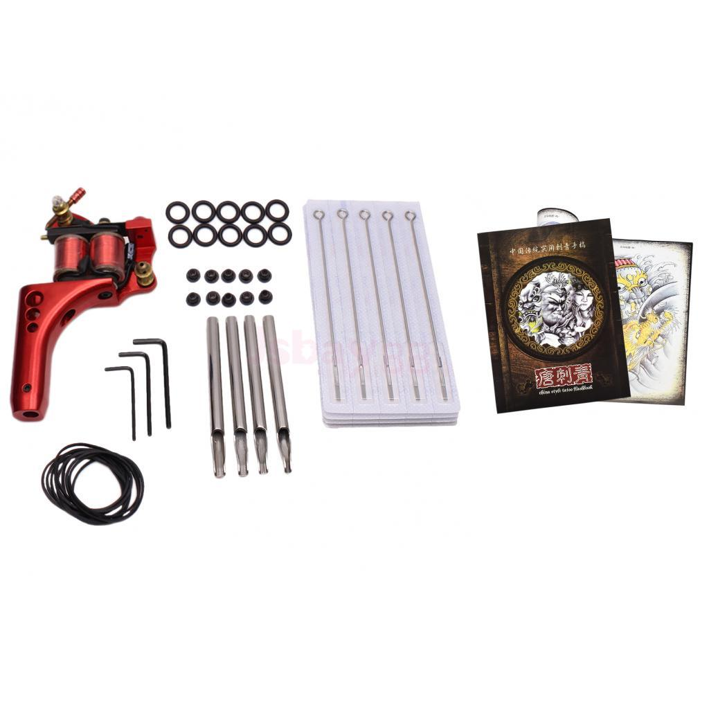 цена Complete Tattoo Machine Set Needle Nozzle Nipple Grommets with Flash Sketch Art Dragon Hannya Reference Book Kit