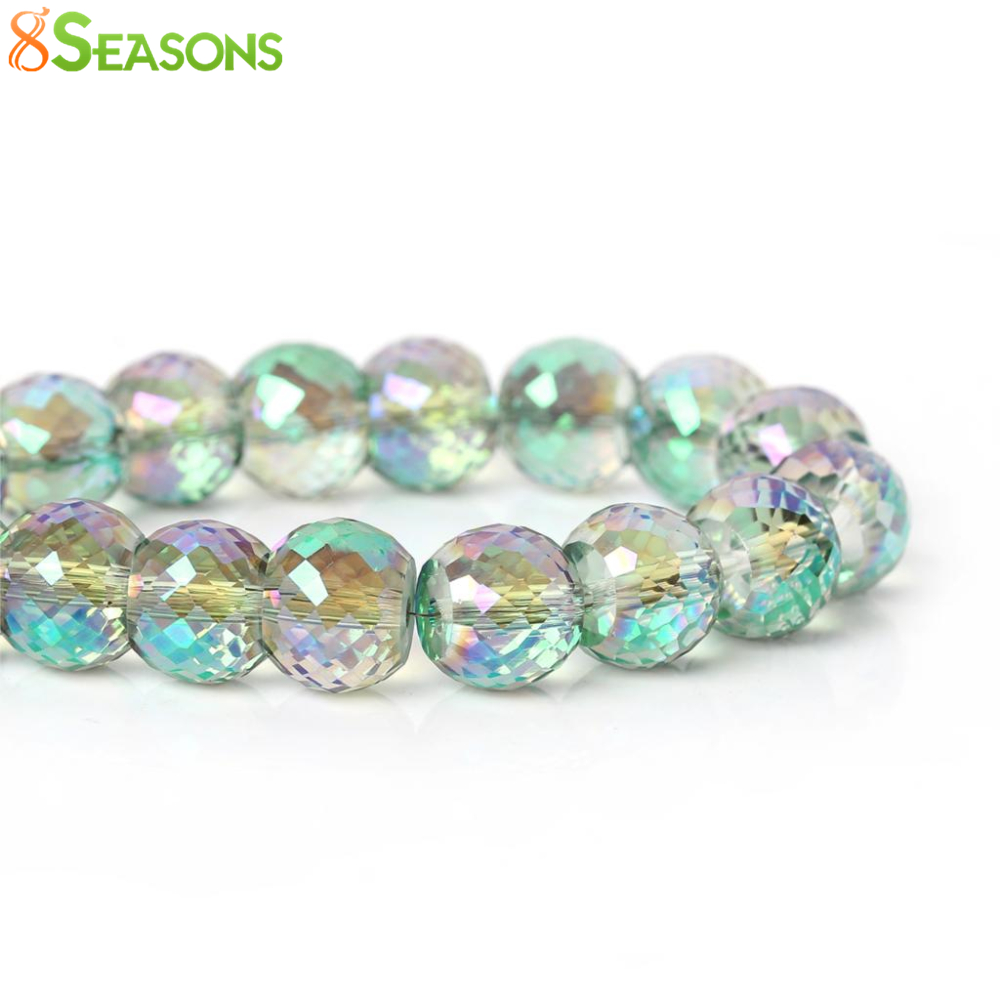"8SEASONS Glass Loose Beads Drum Green AB Color Transparent Faceted About 12mm( <font><b>4</b></font>/8"") <font><b>x</b></font> 9mm( <font><b>3</b></font>/8""),Hole: Approx 1.7mm,<font><b>20</b></font> Pcs"