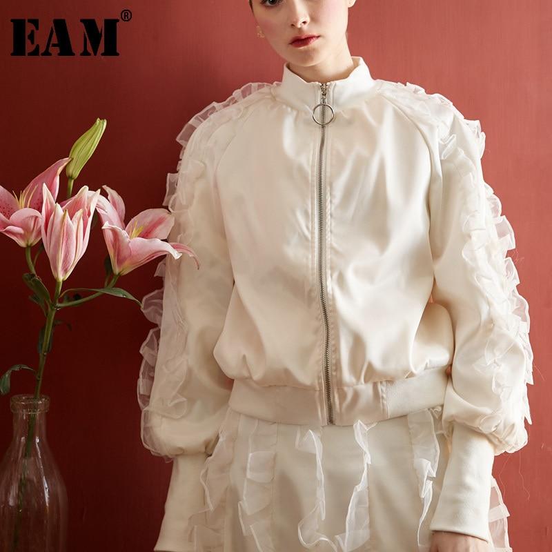 Je985 Femmes Ruches Printemps Gaze Commune Nouveau eam Montant Marée white Col Roses 2019 Manteau Fendue Lâche Manches Veste Longues De Mode O0nqngUxw