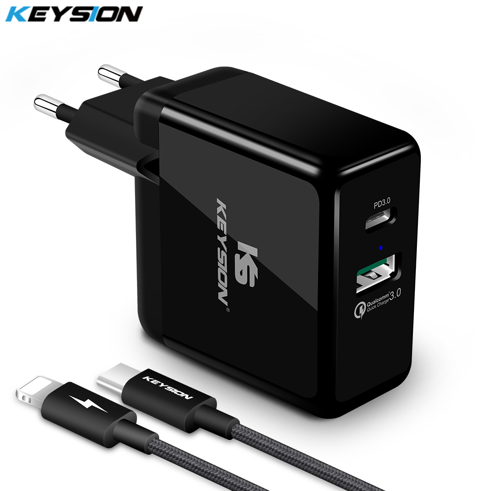 KEYSION 2 Ports 36W USB-C PD Fast Charger Type-C Travel Wall Quick Charger QC 3.0 for iPhone X 8 8 Plus S8 NOTE8 for Huawei FCP
