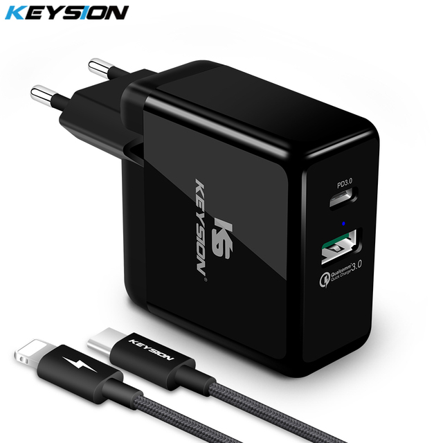 KEYSION 36W USB C PD Fast Charger for iPhone 11 Pro XR XS Max Quick Charge 3.0 Wall USB Charger Adapter for Samsung Xiaomi redmi