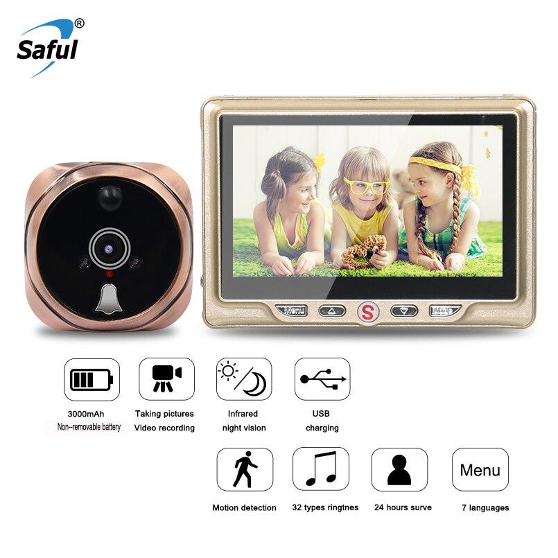 Saful 4,3 ЖК-дисплей Экран двери Камера 3000mA Батарея Ёмкость дверной глазок Камера Запись видео 120 градусов Ночное видение дверной Звонок