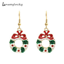 10pairs/lot Alloy Christmas Drop Earrings Fashion Women Jewelry Charm Gift For New Year Rhinestone Santa Claus Eardrop