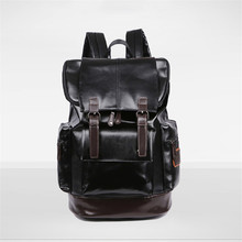 New Pu Leather Backpacks Fashion Vintage Notebook Laptop Backpack Male Large Capacity Backpacks for Men and Women Casual Bags ccz 2017 new arrival pu leather backpacks for men and women fashion school bag male water backpack 14 laptop backpack bk8003
