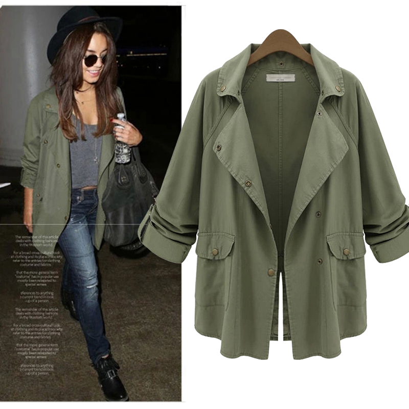 2016 Autumn Coat Women Military Jacket Green Casual Turn down ...