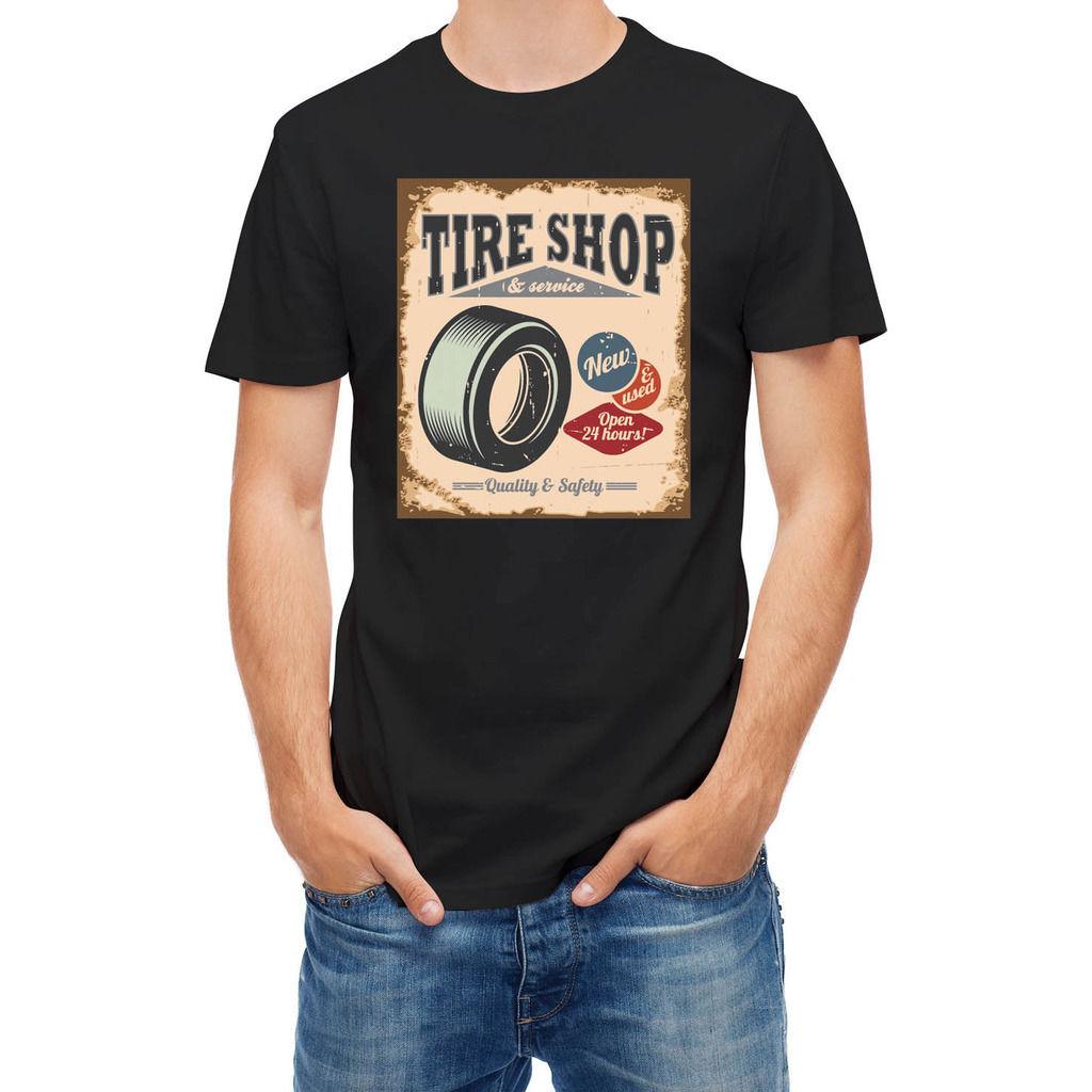 T Shirt Tire Shop Vintage Car Service Men T-Shirt Lowest Price 100 % Cotton T Shirt Summer Famous Clothing Top Tee