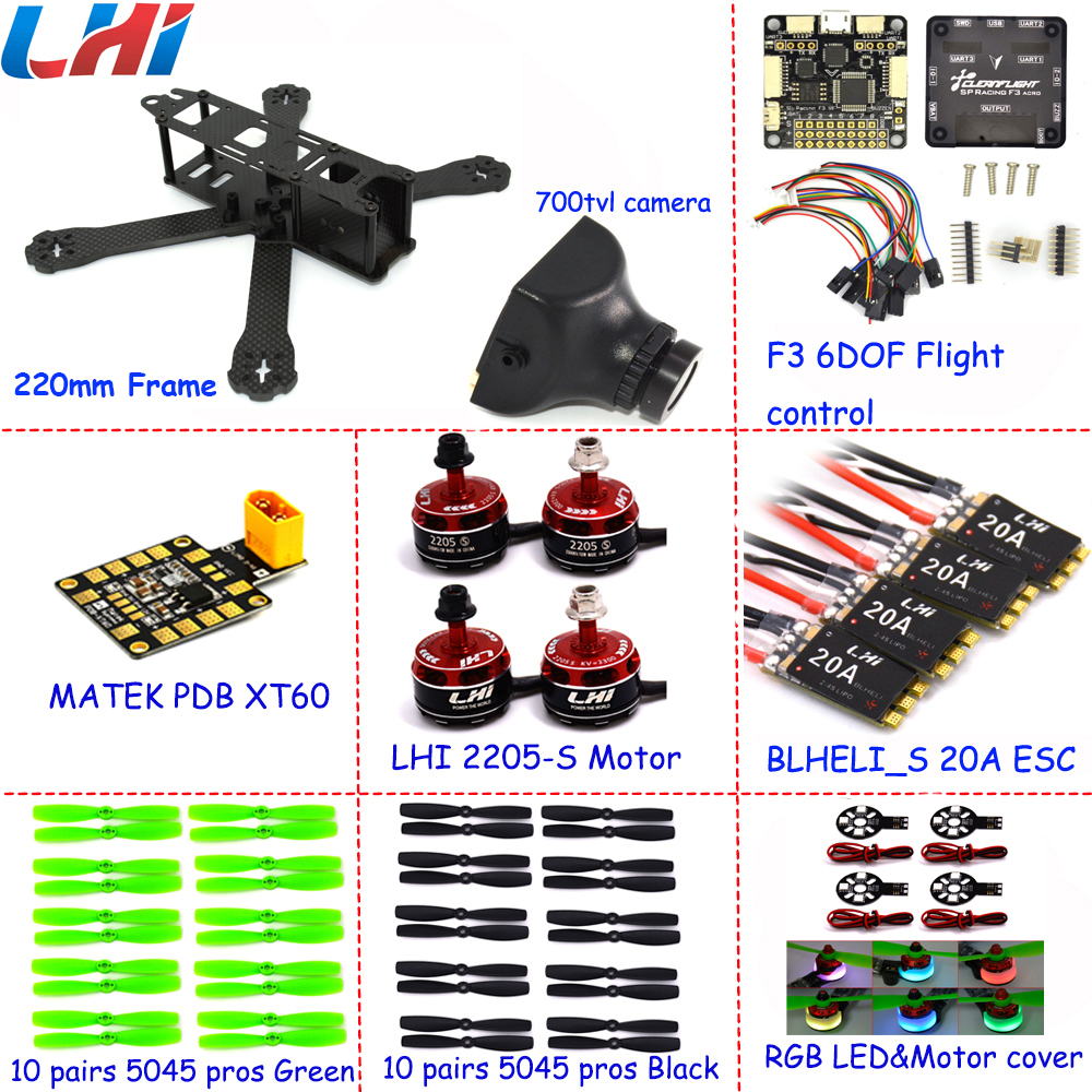 FPV quadcopter with 700TVL camera LHI 20A Blheli_S 2-4S ESC+2205_S Brushless Motor with Mateck XT60 X220 Mini Drone lhi fpv 4x mt2206 2300kv cw ccw fpv brushless motor 2 4s 4 pcs racerstar rs20a lite 20a blheli s bb1 2 4s brushless esc