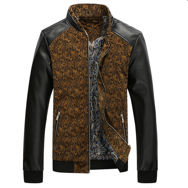 Leather Patchwork Men's Jackets 1