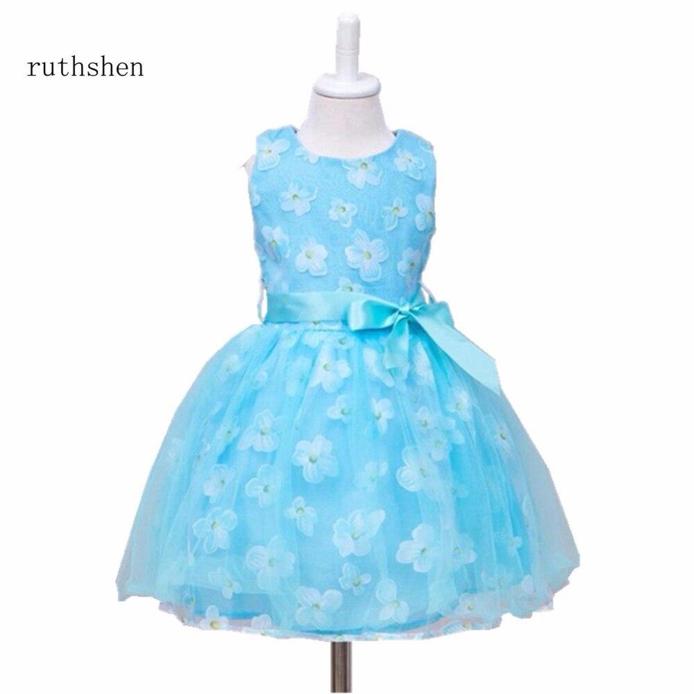 ruthshen The Latest Princess   Flower     Girl     Dresses   Real Photo In Stock   Flower     Girl     Dresses   A Line Knee-Length Light Blue Kid   Dress