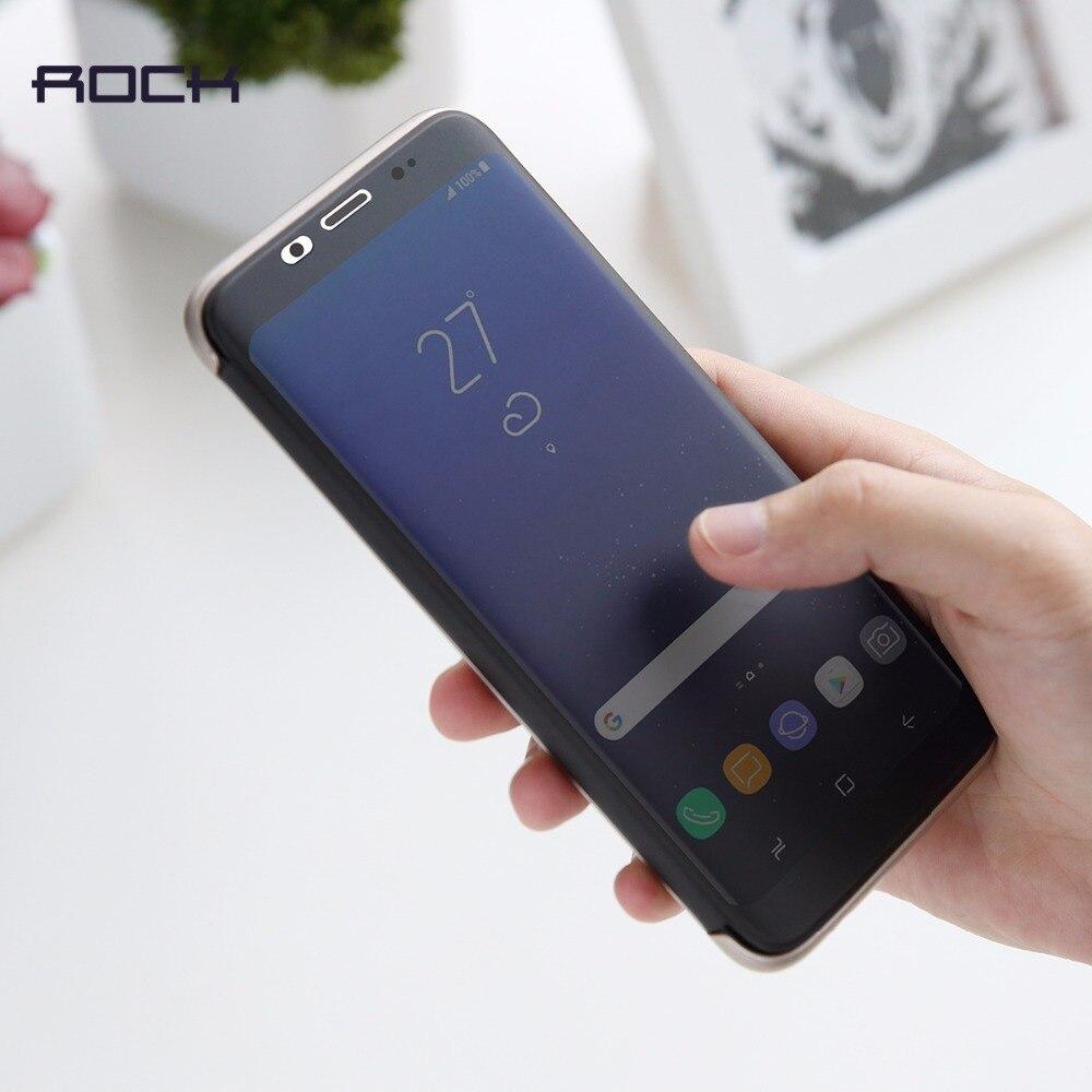 bilder für Rock dr. v serie flip case für samsung galaxy s8 s8 plus slim abdeckung marke phone cases luxus smart flip case unsichtbares fenster