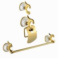 Ванна Аппаратные Наборы латунь держатель для бумаги + Халат крюк + полотенце кольцо золотой отделкой поверхности 3 шт./компл. PH015