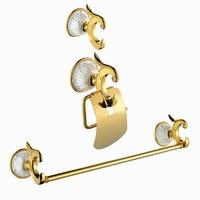 Bath Hardware Sets brass paper holder+robe hook+towel ring gold surface finish 3pcs/set PH015