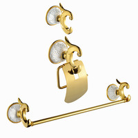 Bath Hardware Sets brass paper holder+robe hook+towel ring gold surface finish 3pcs/set PH015