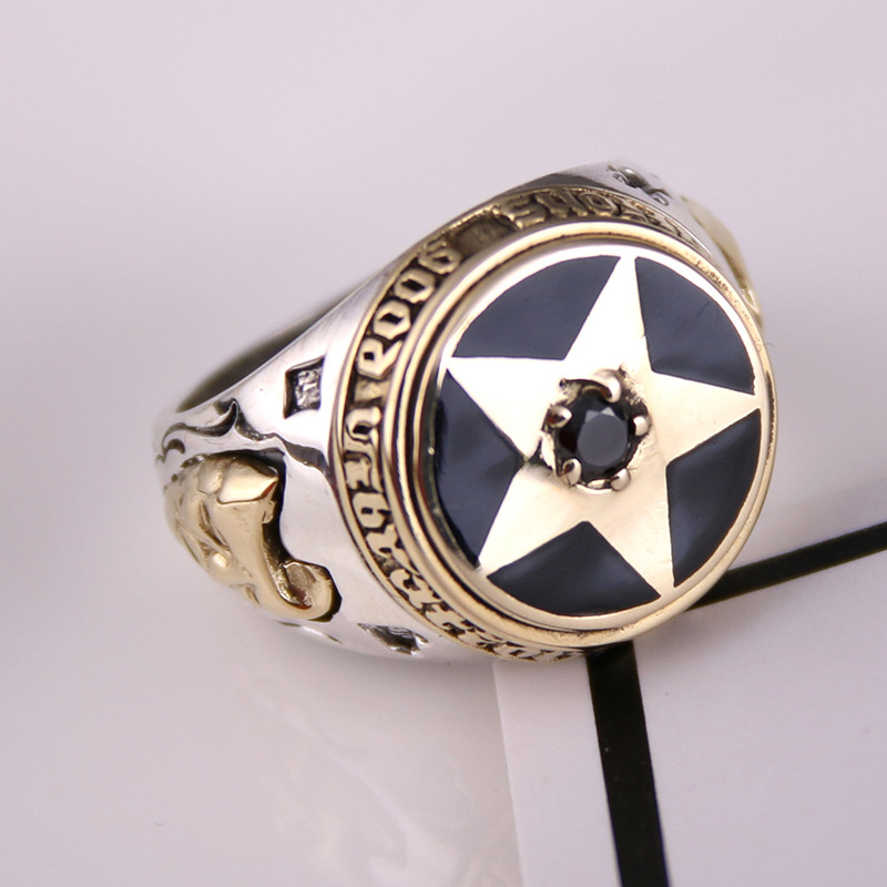 S925 genuine sterling silver ring silver Pentagram ring personality male ladies retro punk fashion silver jewelry s925 sterling silver skull ring metrosexual officers personality of world war ii punk man retro silver ring opening