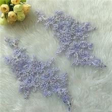 1pairs Purple 23x11cm Delicate Wedding Veil Head Ornaments Lace Lique Trim Dress Diy Accessorie