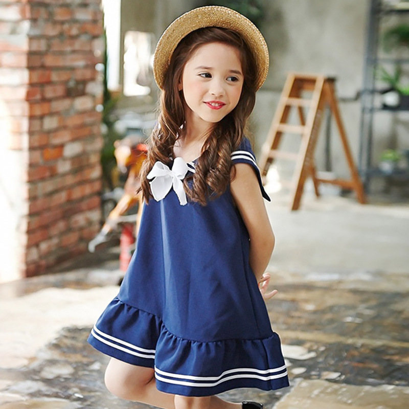 Cotton vest girls dress summer 2017 Academy kids prom dresses 4 14 year tripe white lovely
