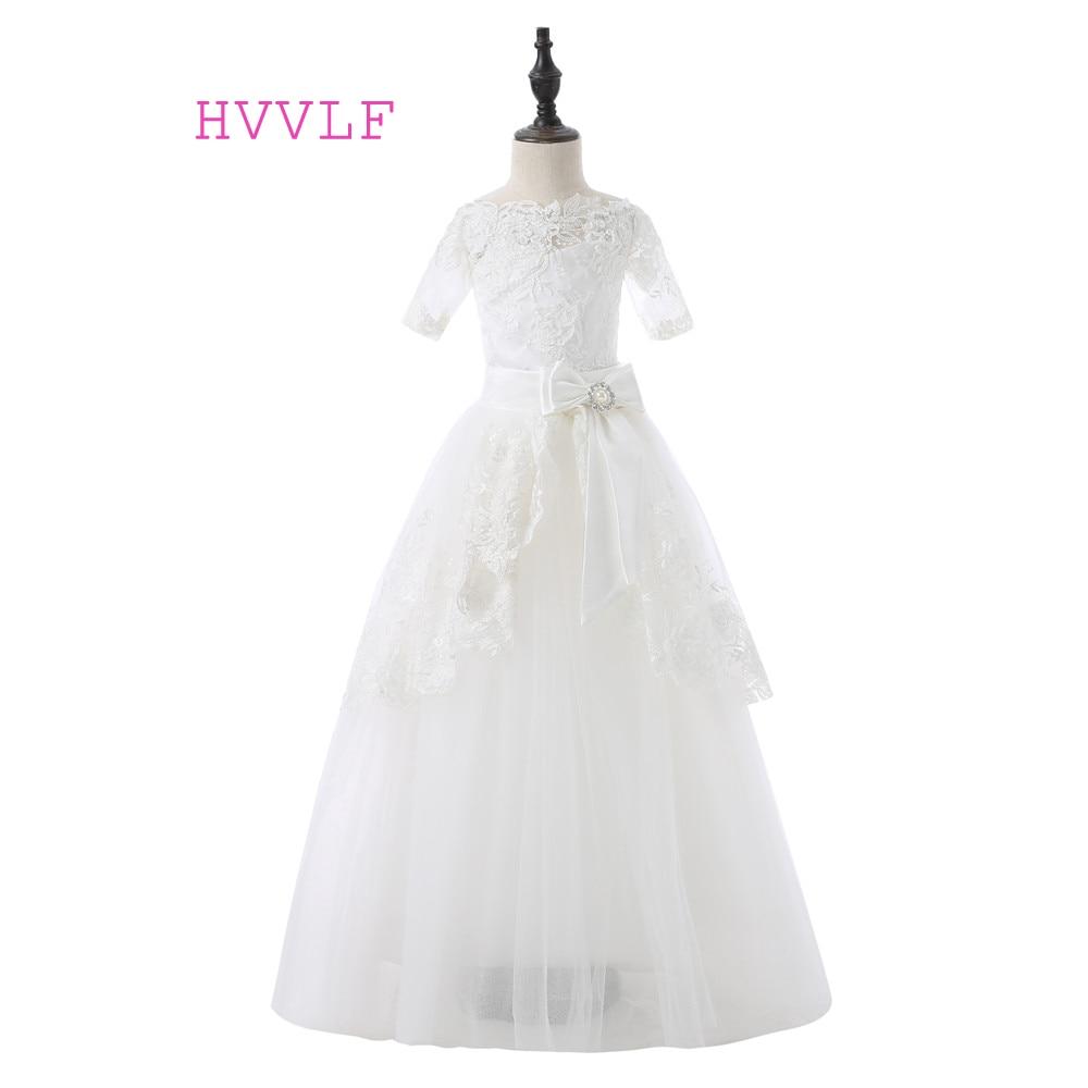 Ivory 2019 Flower Girl Dresses For Weddings Ball Gown Short Sleeves Bow Tulle Lace First Communion Dresses For Little Girls