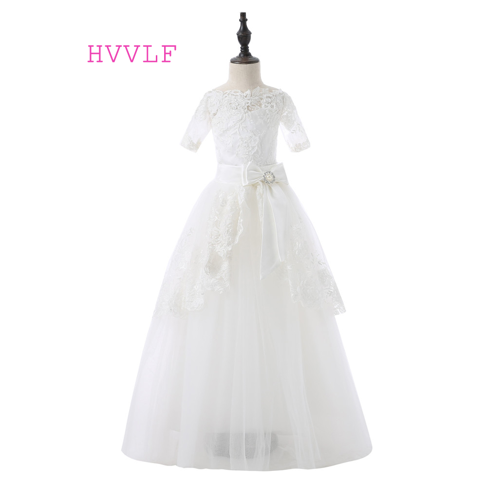 Ivory 2019   Flower     Girl     Dresses   For Weddings Ball Gown Short Sleeves Bow Tulle Lace First Communion   Dresses   For Little   Girls