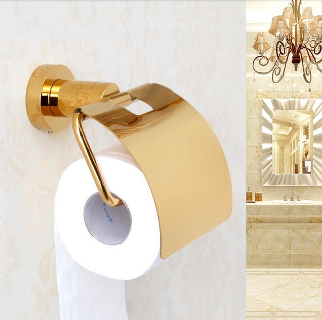 ФОТО Free shipping Solid copper brass gold paper box roll holder toilet gold paper holder tissue box Bathroom Accessories