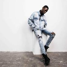 Top kanye represent mens european clothing men light blue black designer rock star Hole ripped skinny