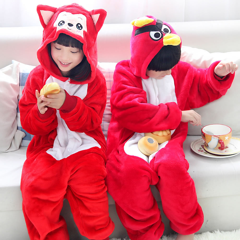 Animal Anime Cartoon Red Fox Bird Pyjamas Kids Boys Girls Cosplay Costume Children Jumpsuits Onesie Sleepwear Carnaval Costumes