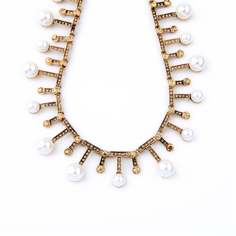 Fashion New Design Gold Color Chain Mosaic Yellow Rhinestone Pearl Chokers  Necklaces For Women Charm Jewelry Wholesale-in Choker Necklaces from Jewelry  ... 0afb1cab55d8
