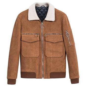 mens jackets and coats thicken warm brown pink short bomber jacket rib sleeve zipper men streetwear 3xl turn-down collar clothes