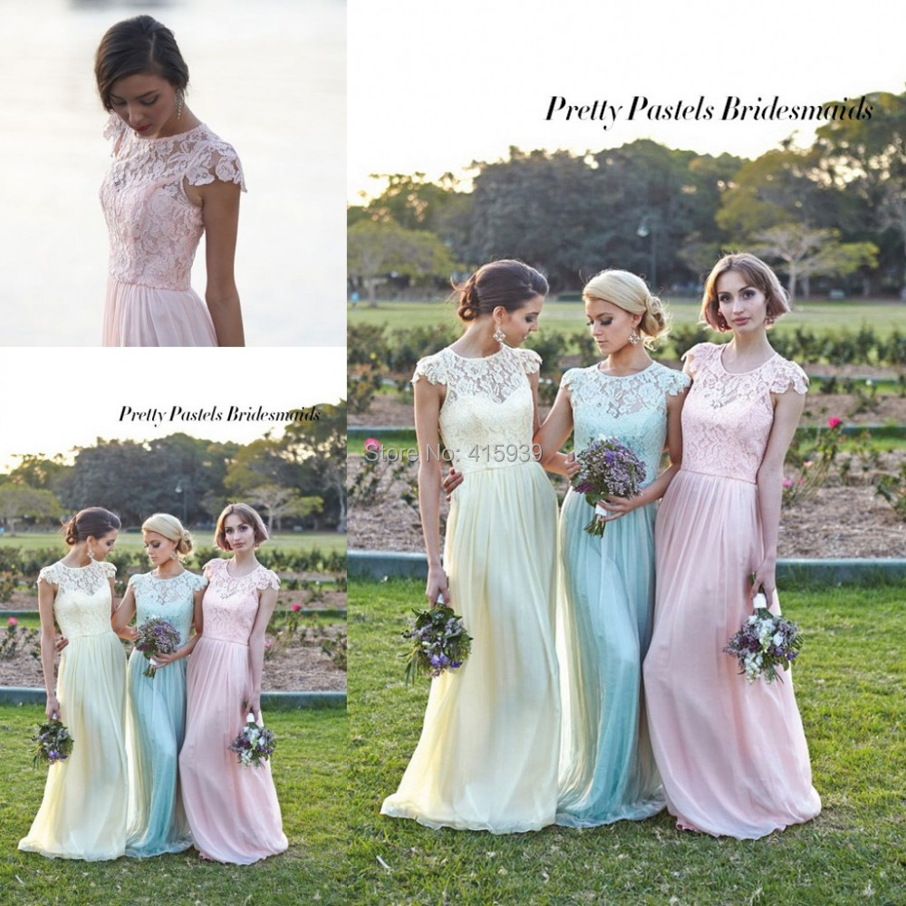 Free shipping 2015 pastels colour chiffon and lace zipper back free shipping 2015 pastels colour chiffon and lace zipper back bridesmaid dresses prom dress with cap sleeves vestido de festa in bridesmaid dresses from ombrellifo Choice Image