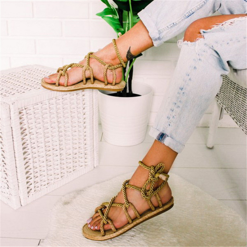 659ac6481ff70a Boho Women Sandals Lace Up 2019 Hemp Rope Rome 2019 Women Sandals Casuals  Gladiator Cross tied Women Shoes 35 43-in Low Heels from Shoes